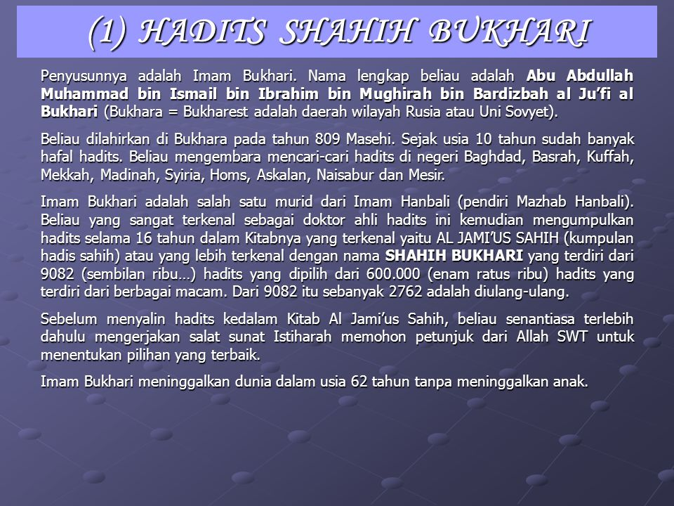 (1) HADITS SHAHIH BUKHARI