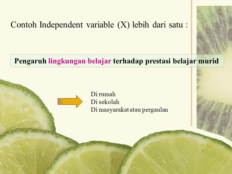 Contoh Independent variable (X) lebih dari satu :