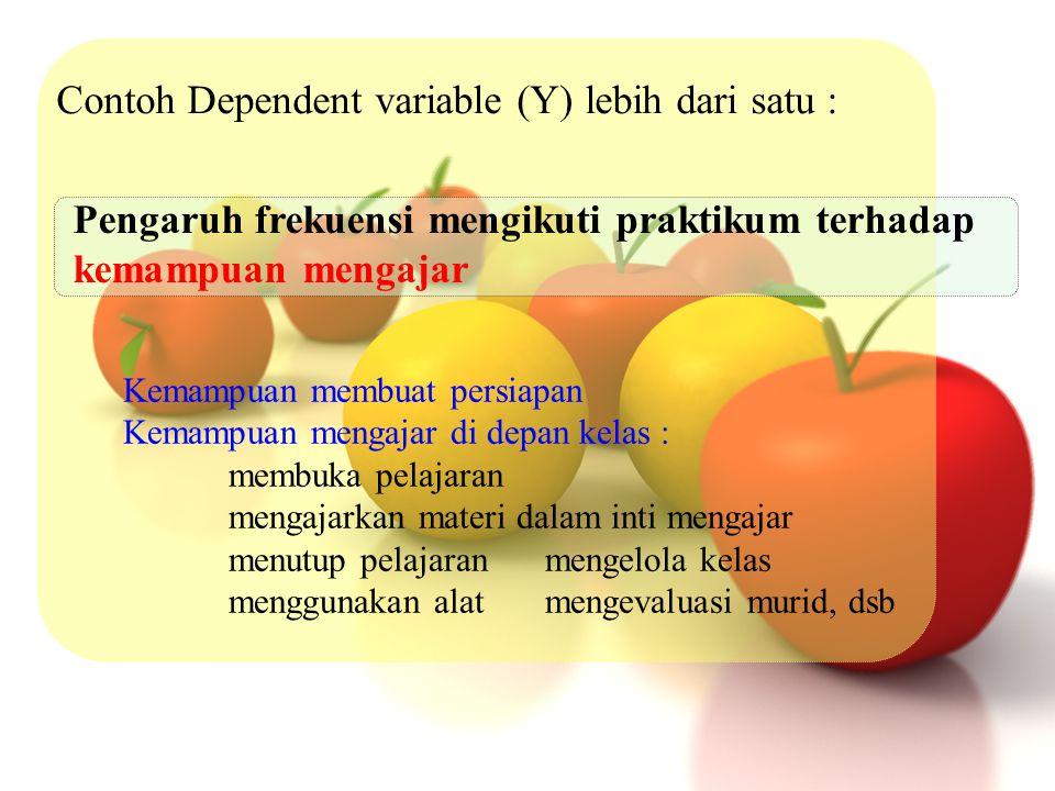 Contoh Dependent variable (Y) lebih dari satu :