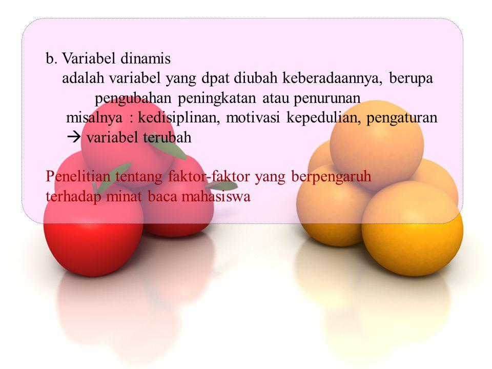 b. Variabel dinamis adalah variabel yang dpat diubah keberadaannya, berupa. pengubahan peningkatan atau penurunan.