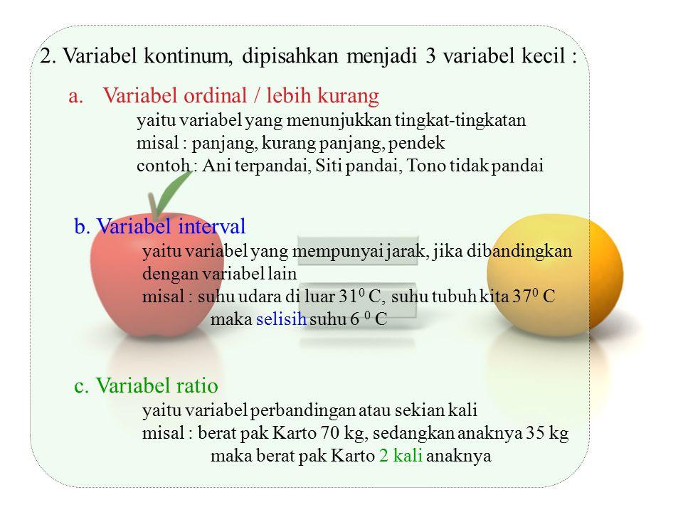 2. Variabel kontinum, dipisahkan menjadi 3 variabel kecil :