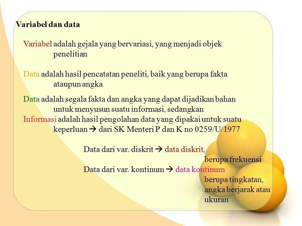 Variabel dan data Variabel adalah gejala yang bervariasi, yang menjadi objek. penelitian.