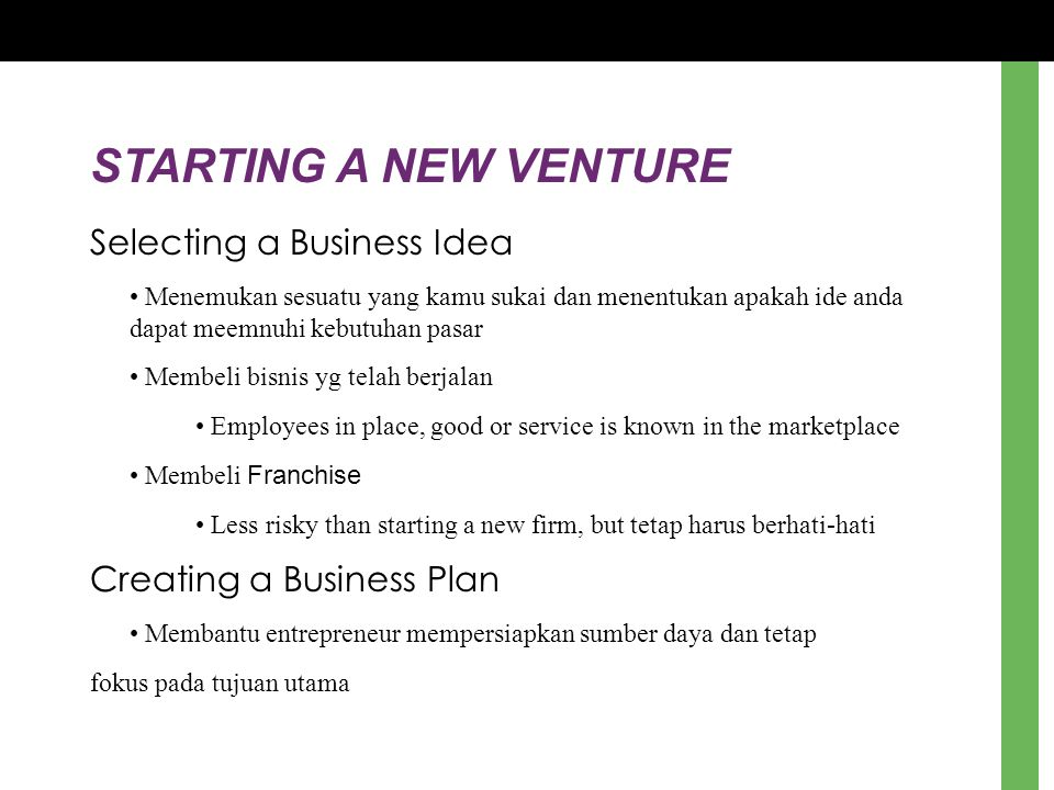 STARTING A NEW VENTURE Selecting a Business Idea