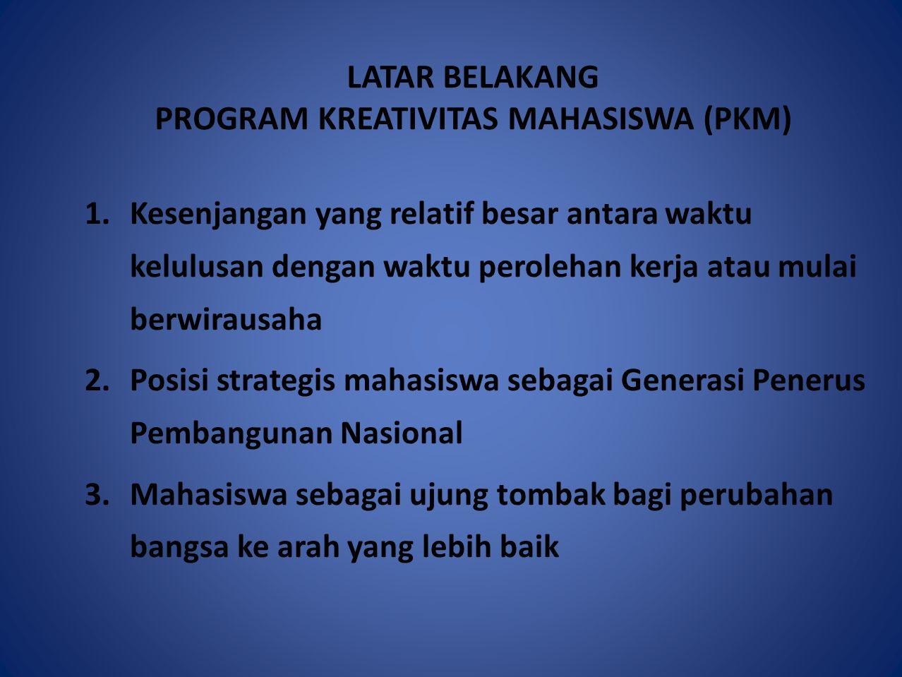 LATAR BELAKANG PROGRAM KREATIVITAS MAHASISWA (PKM)
