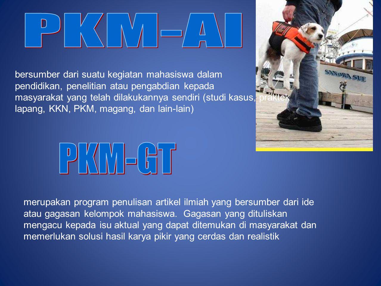 PKM-GT PKM-AI bersumber dari suatu kegiatan mahasiswa dalam