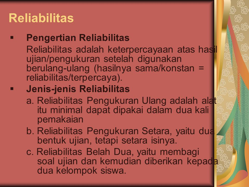 Reliabilitas Pengertian Reliabilitas