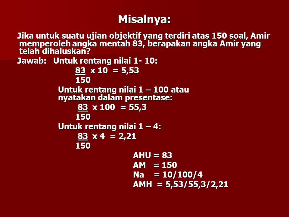 Misalnya: Jika untuk suatu ujian objektif yang terdiri atas 150 soal, Amir memperoleh angka mentah 83, berapakan angka Amir yang telah dihaluskan