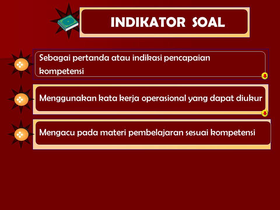 INDIKATOR SOAL Sebagai pertanda atau indikasi pencapaian kompetensi