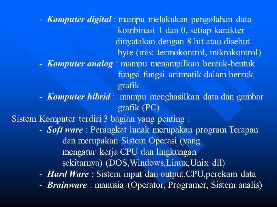 - Komputer digital : mampu melakukan pengolahan data