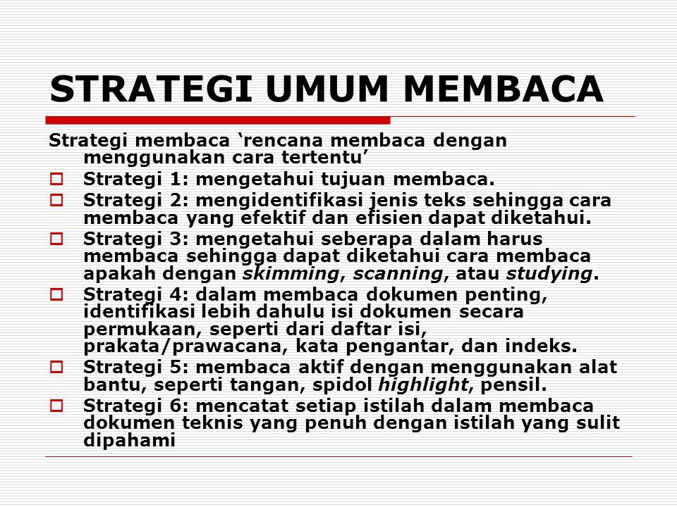 STRATEGI UMUM MEMBACA Strategi membaca 'rencana membaca dengan menggunakan cara tertentu' Strategi 1: mengetahui tujuan membaca.