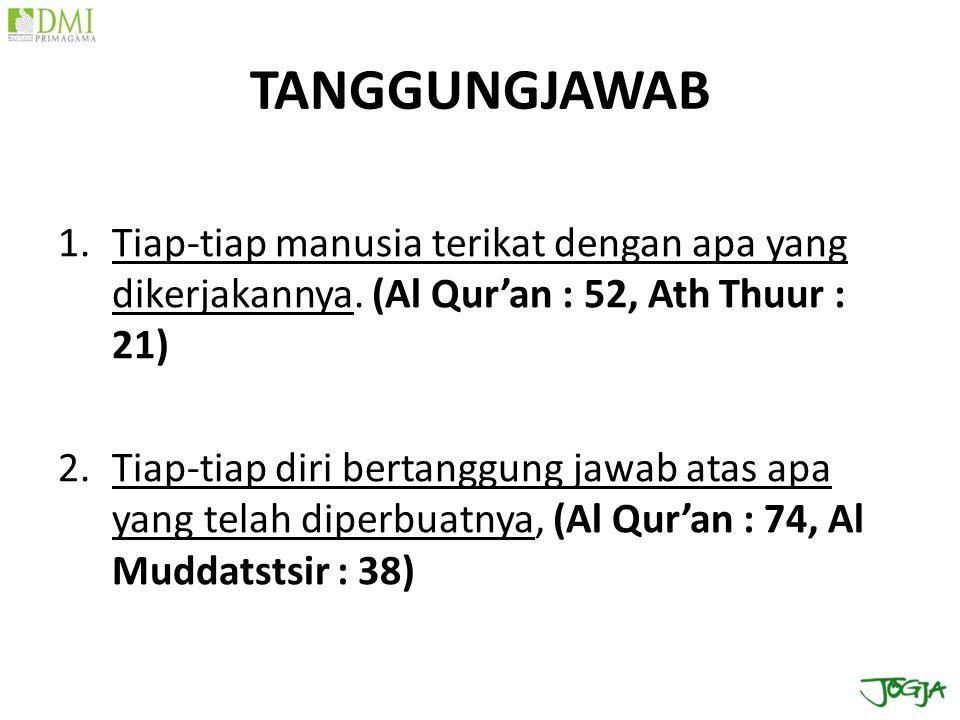 TANGGUNGJAWAB Tiap-tiap manusia terikat dengan apa yang dikerjakannya. (Al Qur'an : 52, Ath Thuur : 21)