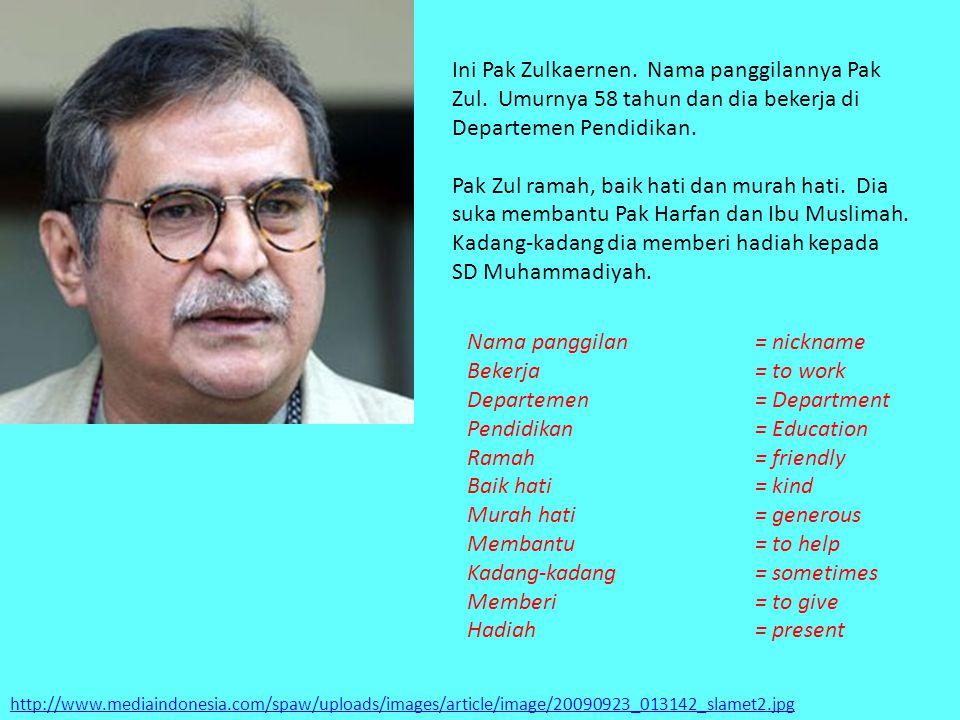Nama panggilan = nickname Bekerja = to work Departemen = Department