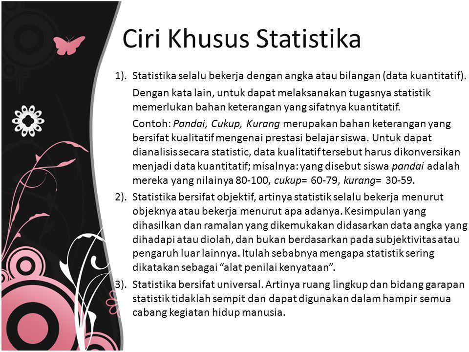 Ciri Khusus Statistika