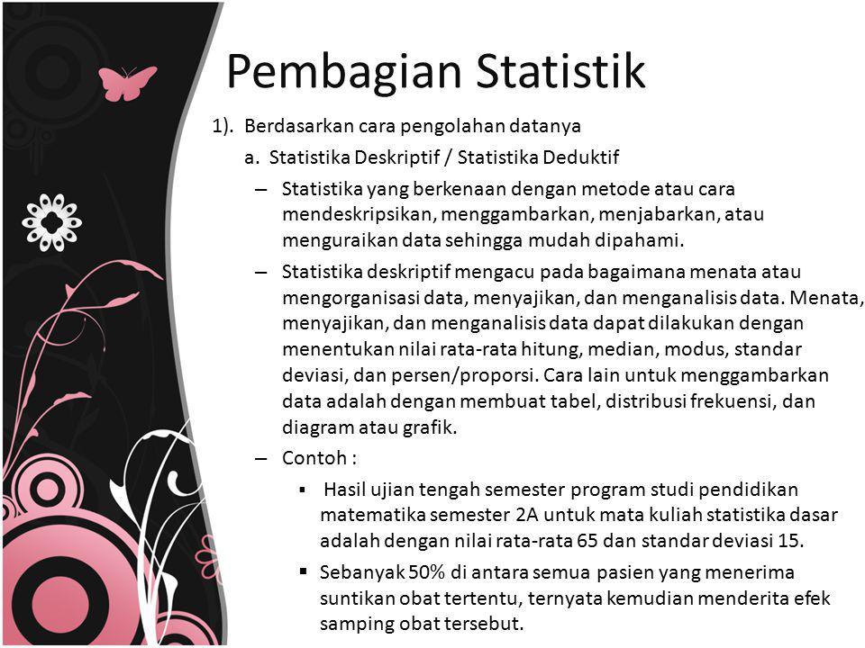 Pembagian Statistik 1). Berdasarkan cara pengolahan datanya
