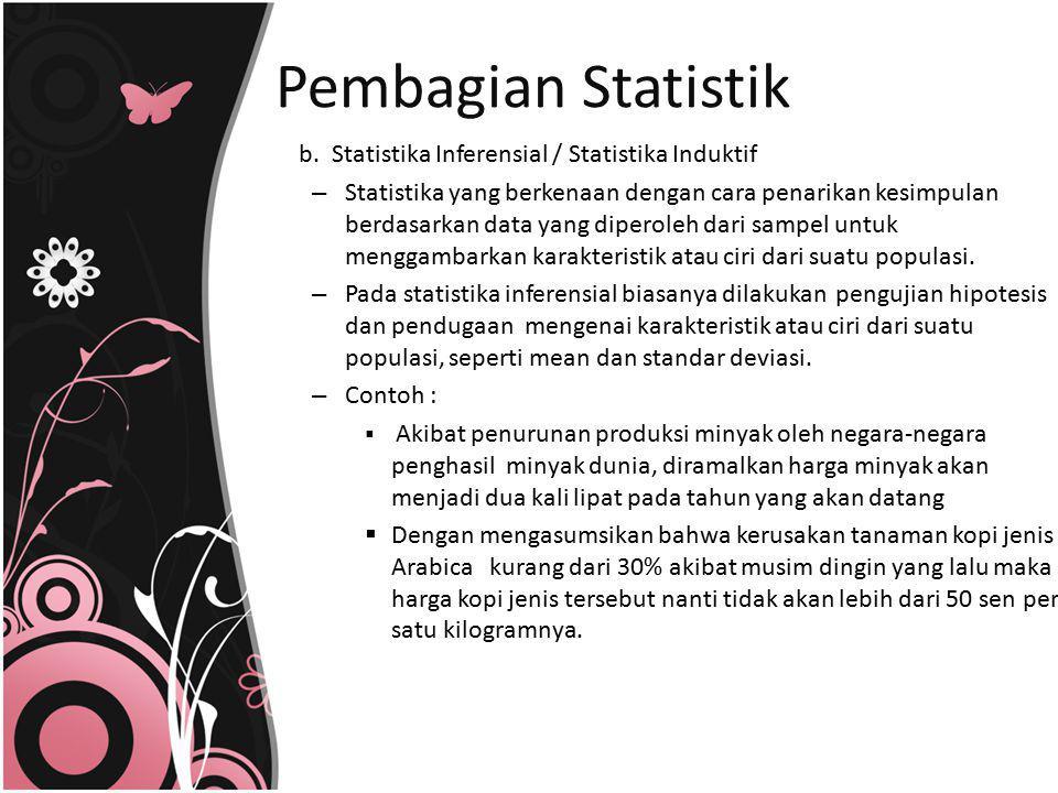 Pembagian Statistik b. Statistika Inferensial / Statistika Induktif