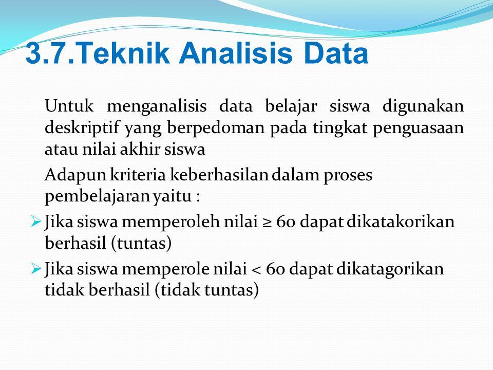 3.7.Teknik Analisis Data Untuk menganalisis data belajar siswa digunakan deskriptif yang berpedoman pada tingkat penguasaan atau nilai akhir siswa.