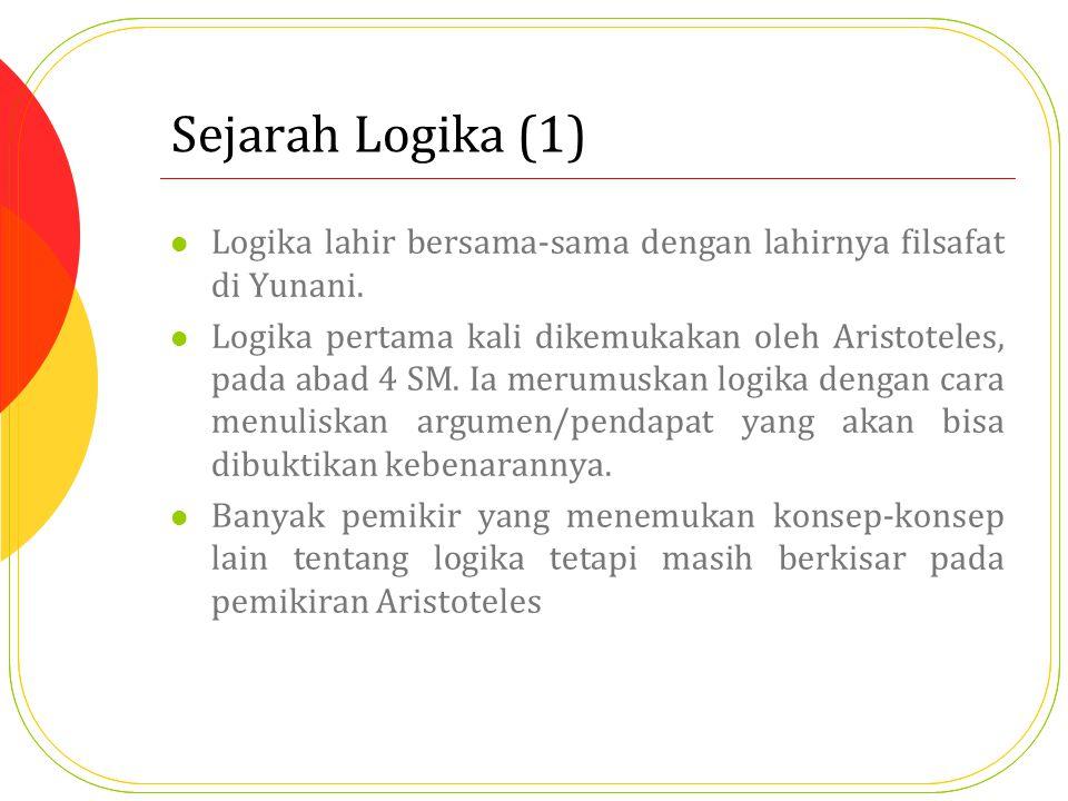 Sejarah Logika (1) Logika lahir bersama-sama dengan lahirnya filsafat di Yunani.