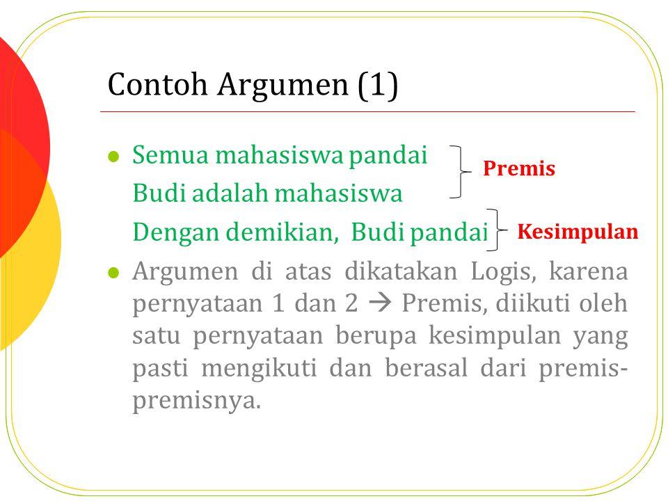 Contoh Argumen (1) Semua mahasiswa pandai Budi adalah mahasiswa
