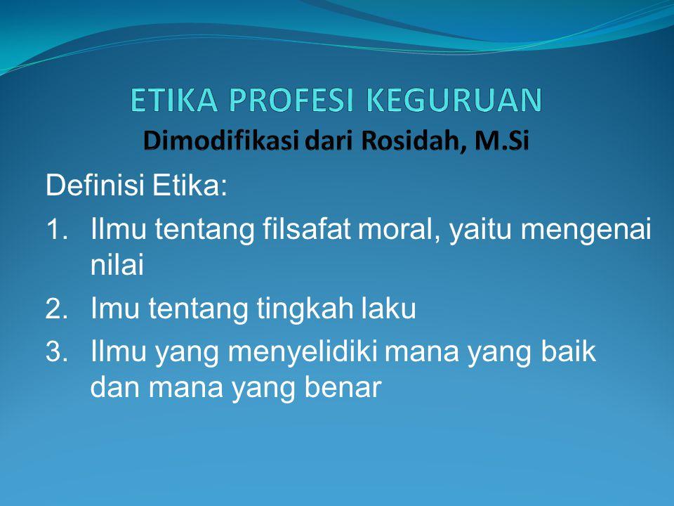 ETIKA PROFESI KEGURUAN Dimodifikasi dari Rosidah, M.Si