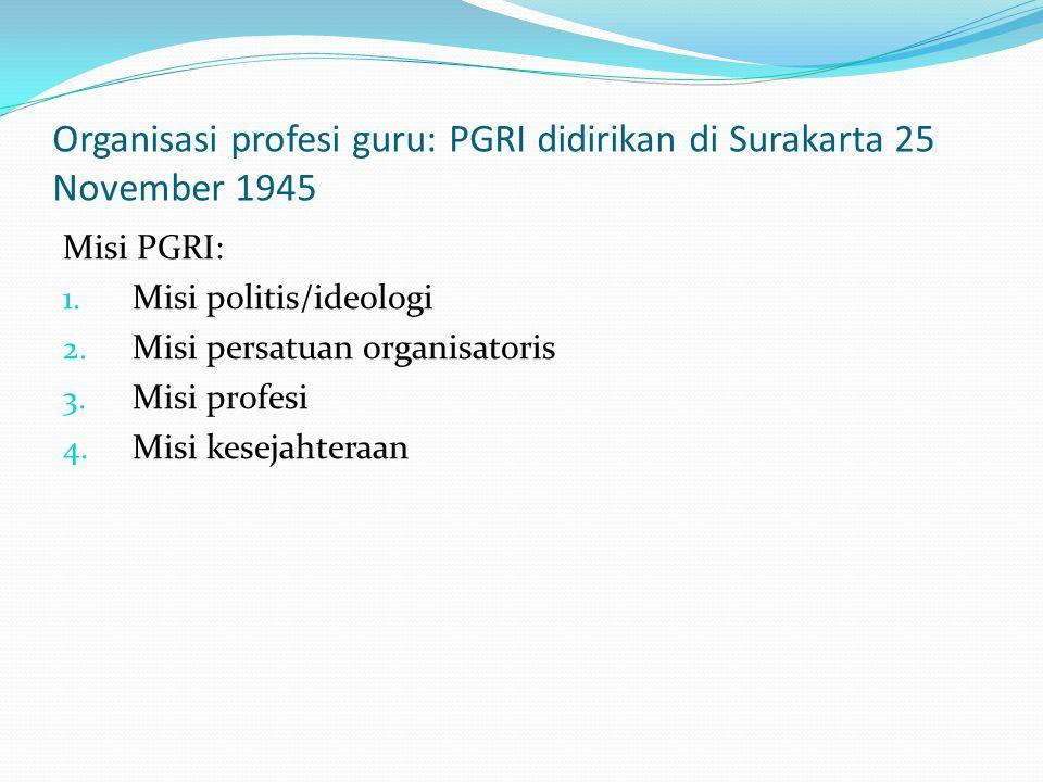 Organisasi profesi guru: PGRI didirikan di Surakarta 25 November 1945