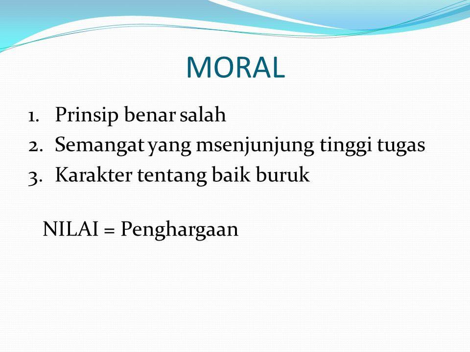 MORAL Prinsip benar salah Semangat yang msenjunjung tinggi tugas