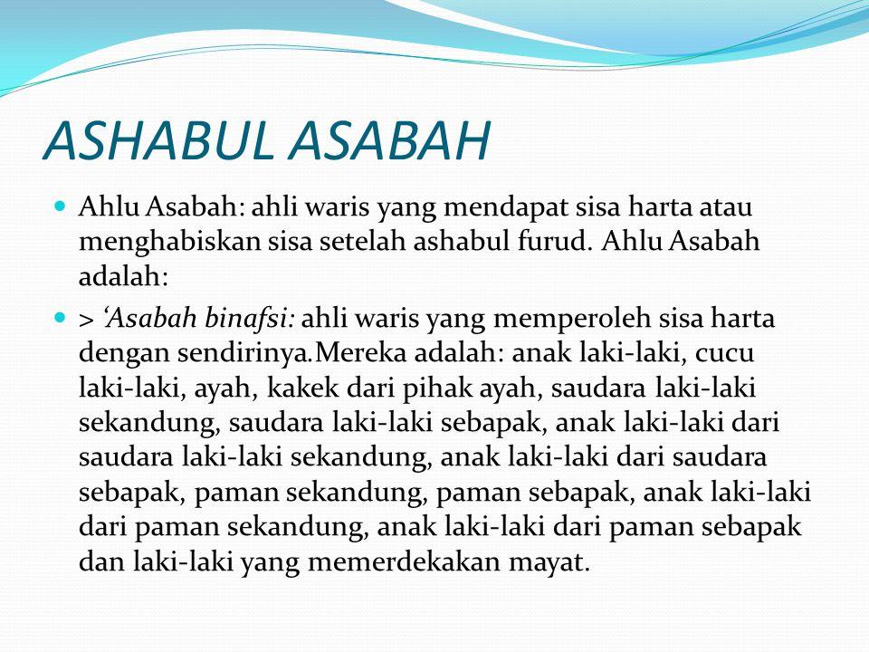ASHABUL ASABAH Ahlu Asabah: ahli waris yang mendapat sisa harta atau menghabiskan sisa setelah ashabul furud. Ahlu Asabah adalah: