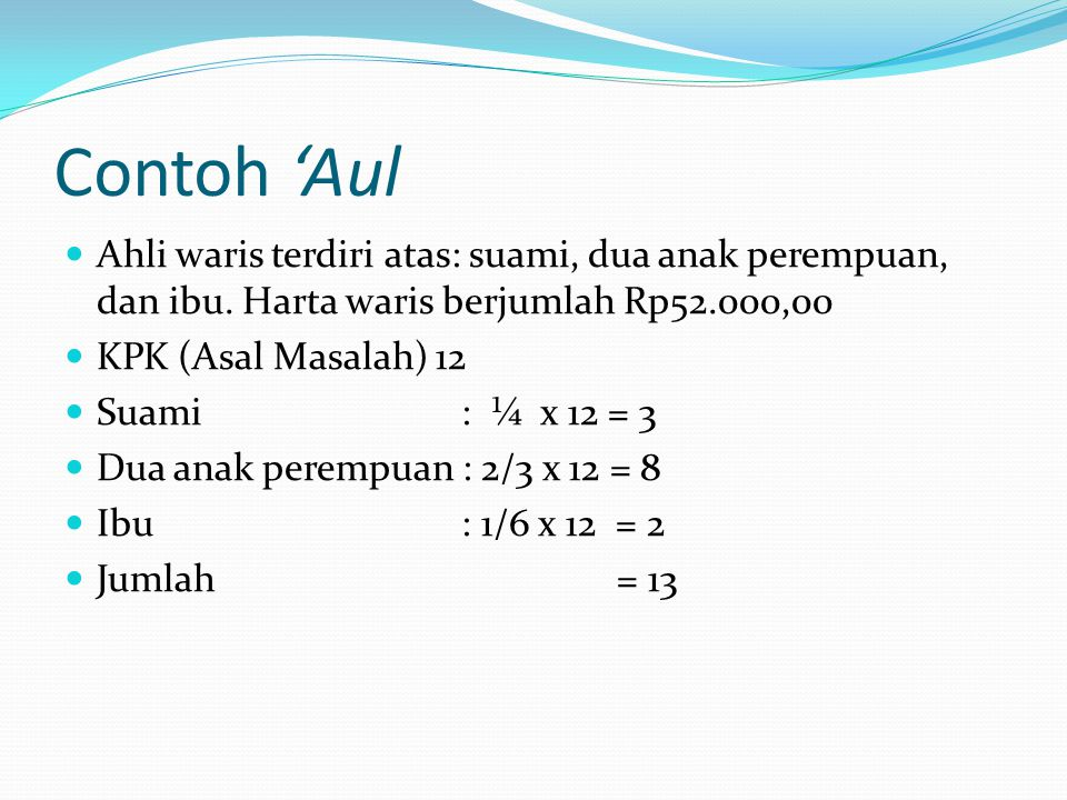 Contoh 'Aul Ahli waris terdiri atas: suami, dua anak perempuan, dan ibu. Harta waris berjumlah Rp52.000,00.