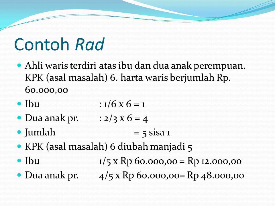 Contoh Rad Ahli waris terdiri atas ibu dan dua anak perempuan. KPK (asal masalah) 6. harta waris berjumlah Rp. 60.000,00.