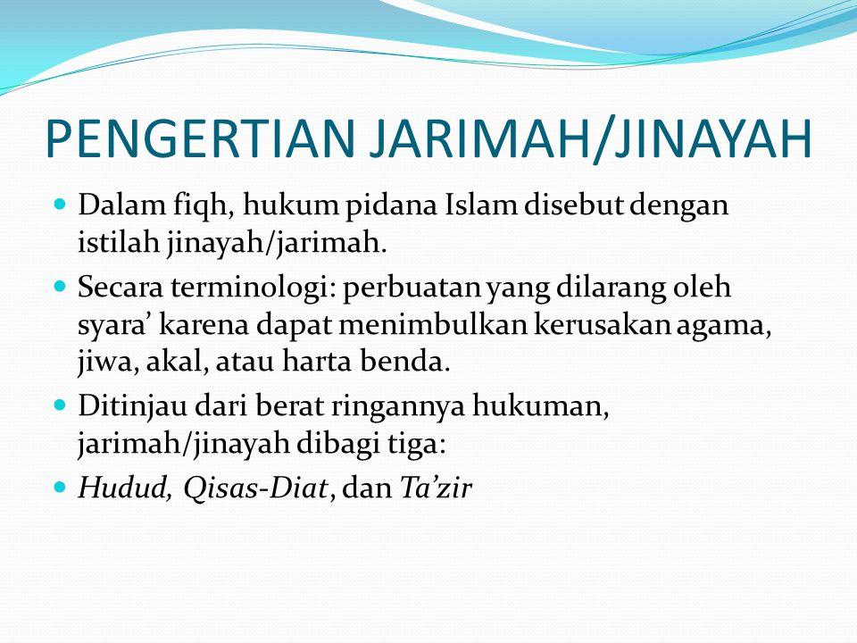 PENGERTIAN JARIMAH/JINAYAH