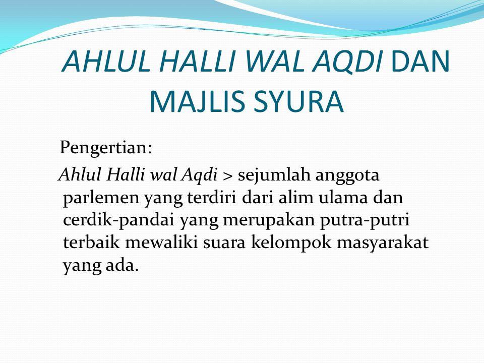 AHLUL HALLI WAL AQDI DAN MAJLIS SYURA