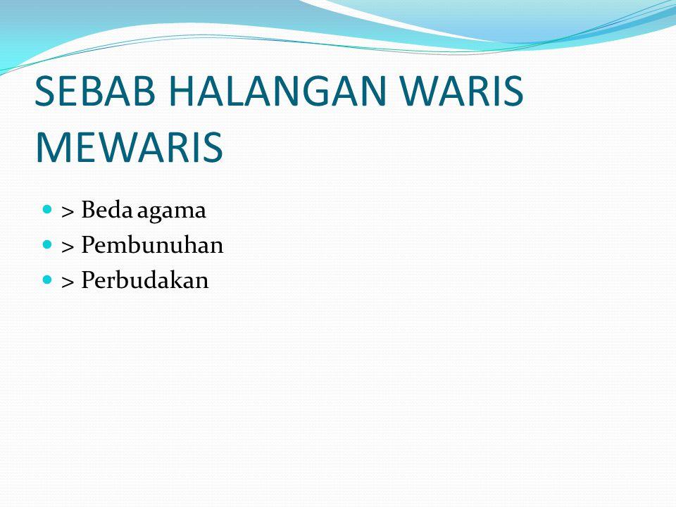 SEBAB HALANGAN WARIS MEWARIS