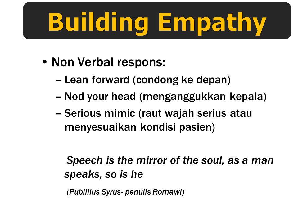 Building Empathy Non Verbal respons: Lean forward (condong ke depan)