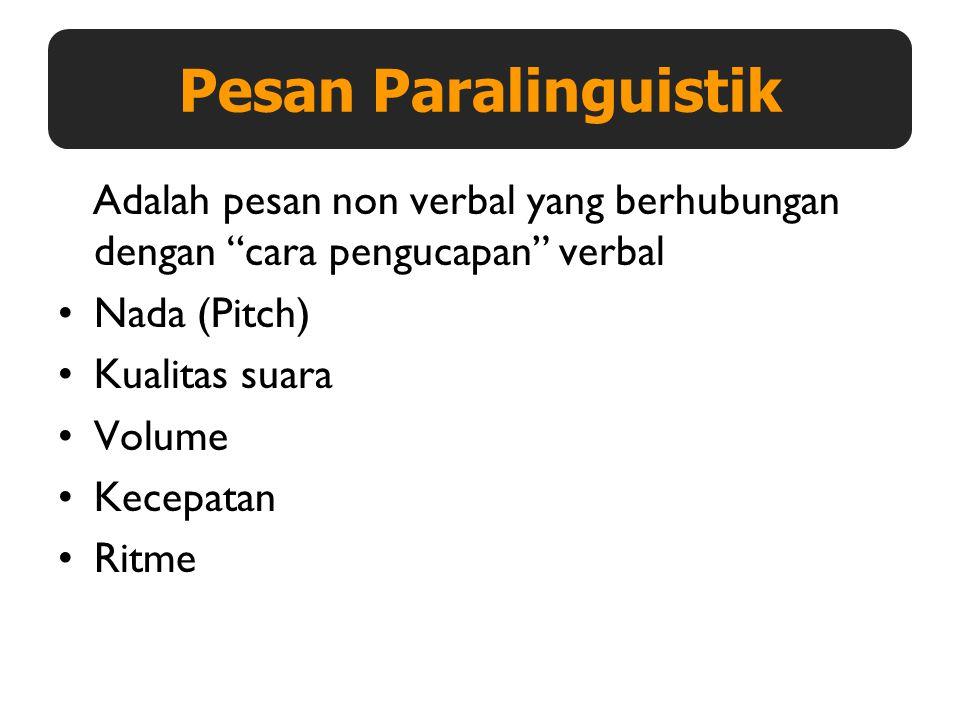 Pesan Paralinguistik Adalah pesan non verbal yang berhubungan dengan cara pengucapan verbal. Nada (Pitch)