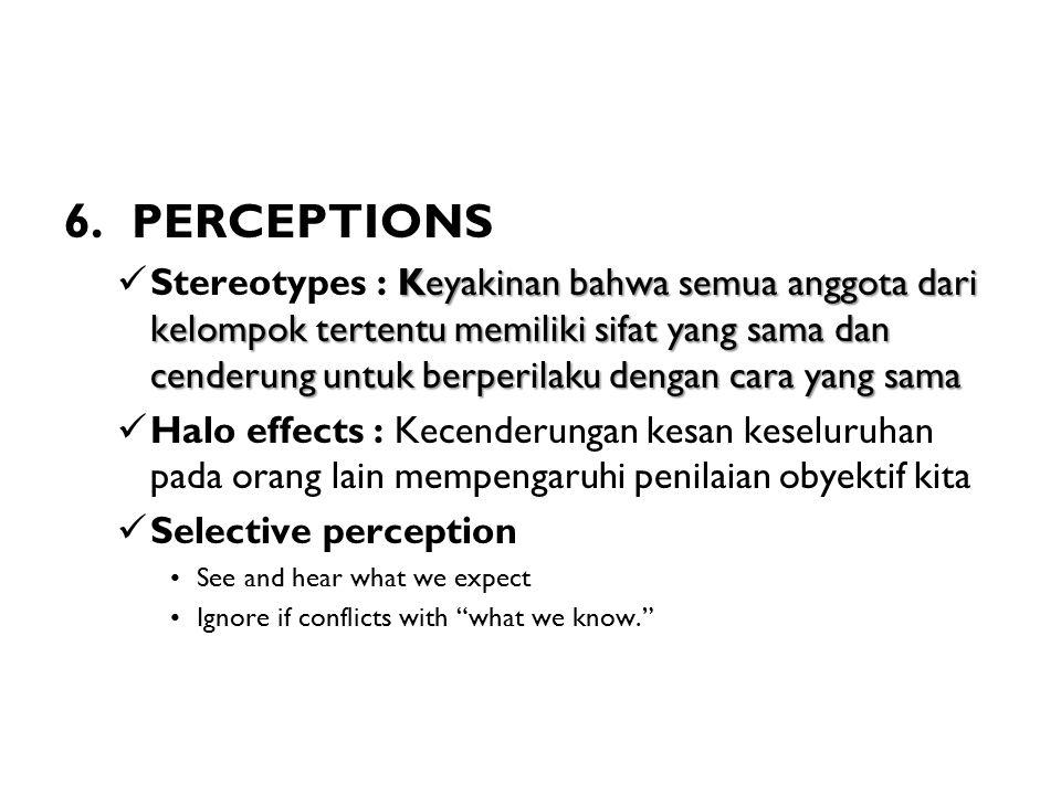 6. PERCEPTIONS