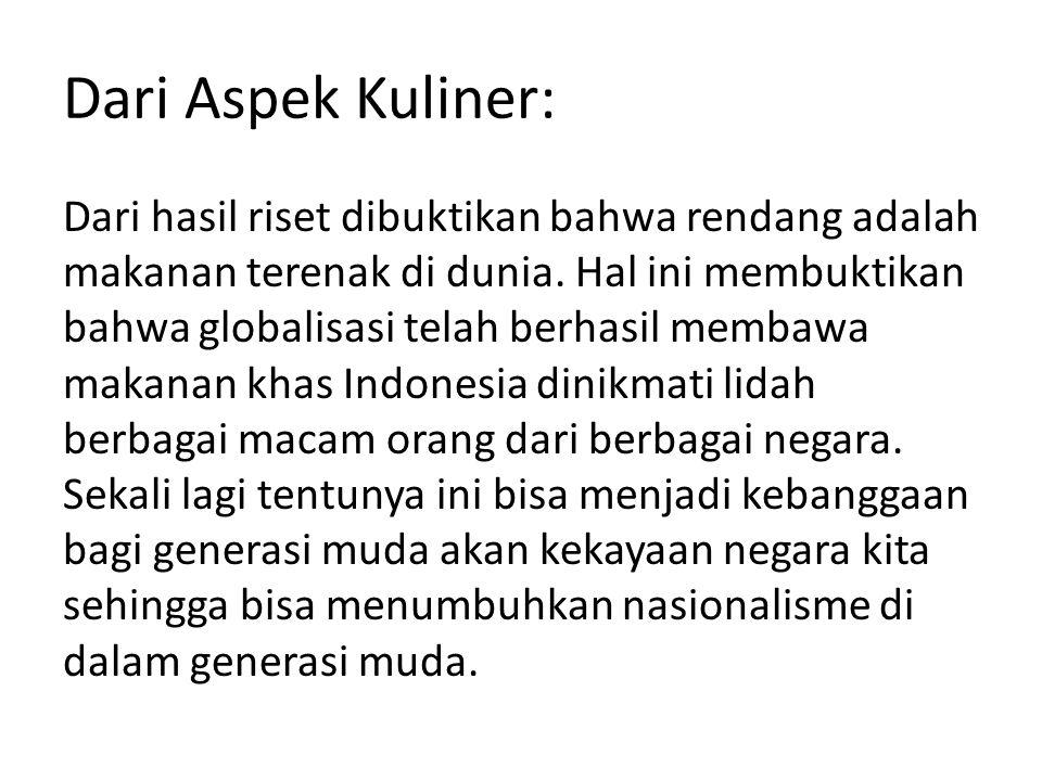 Dari Aspek Kuliner:
