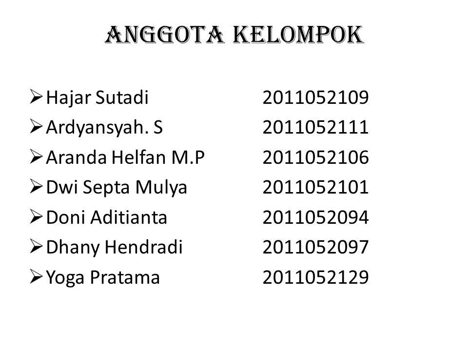 ANGGOTA KELOMPOK Hajar Sutadi 2011052109 Ardyansyah. S 2011052111