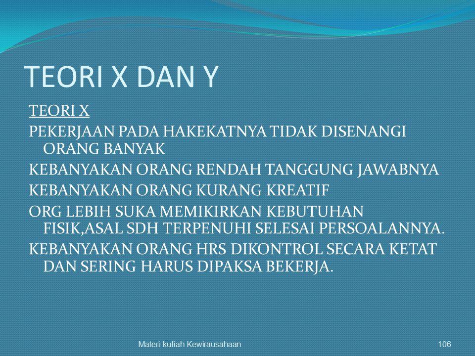 TEORI X DAN Y