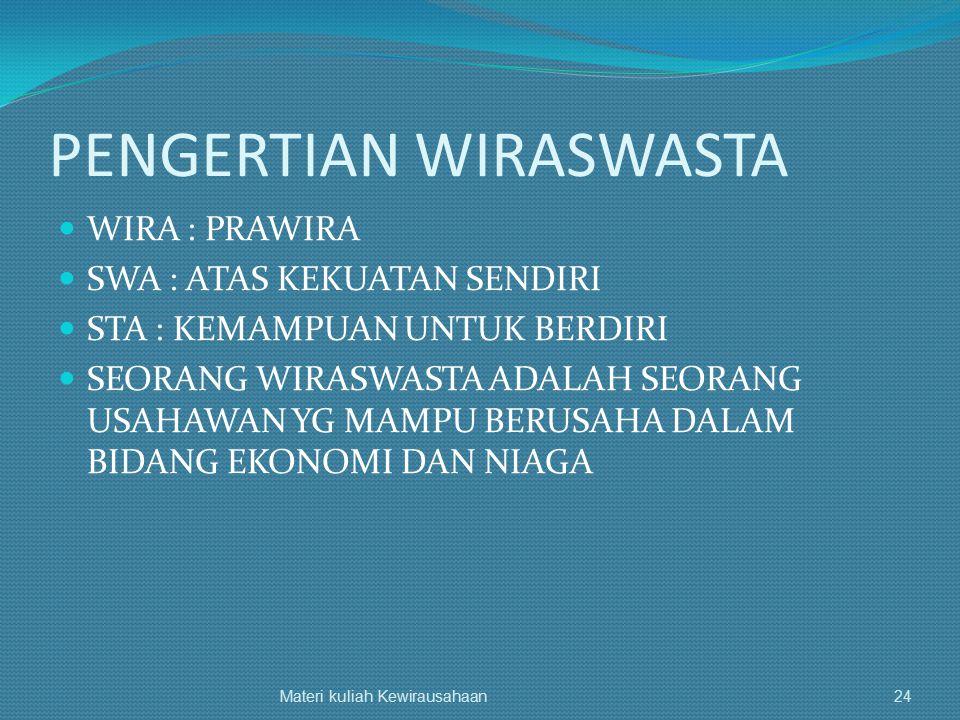 PENGERTIAN WIRASWASTA