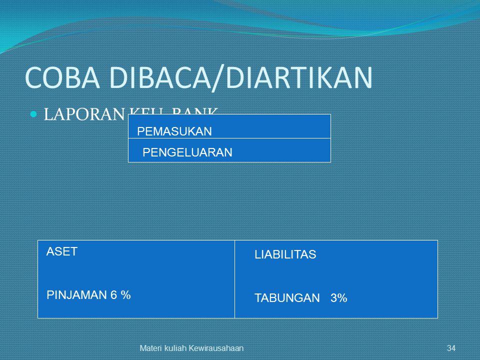 COBA DIBACA/DIARTIKAN