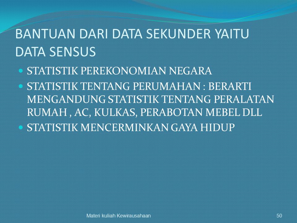 BANTUAN DARI DATA SEKUNDER YAITU DATA SENSUS