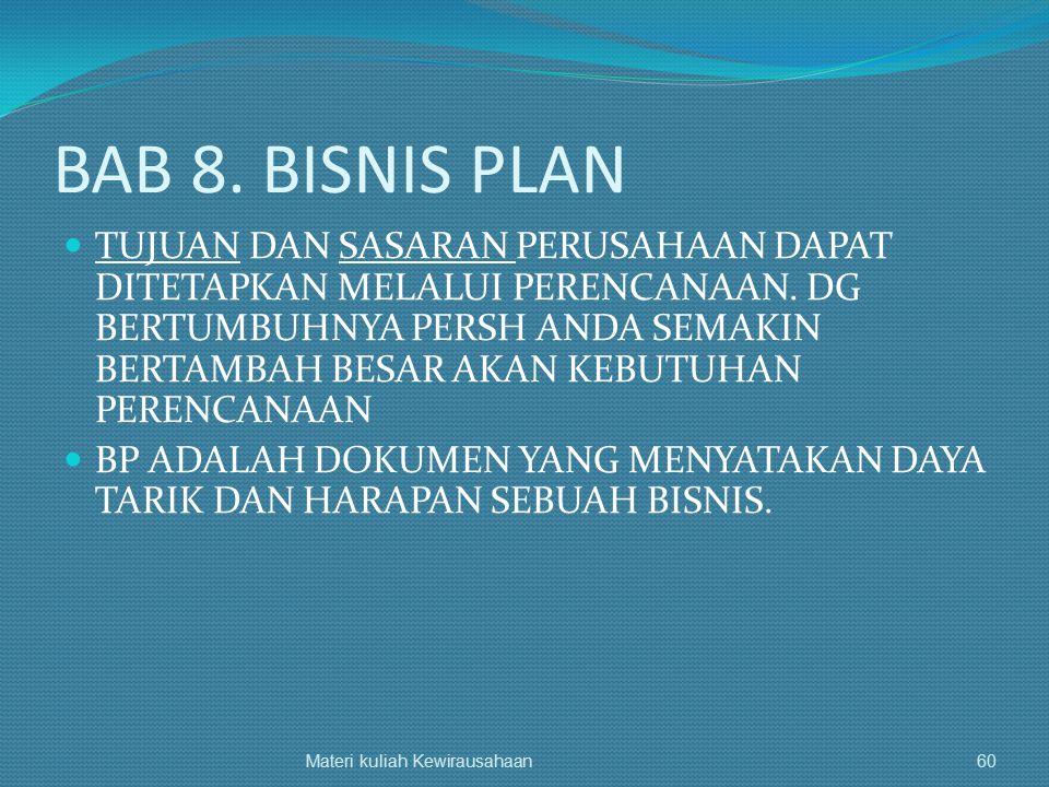 BAB 8. BISNIS PLAN