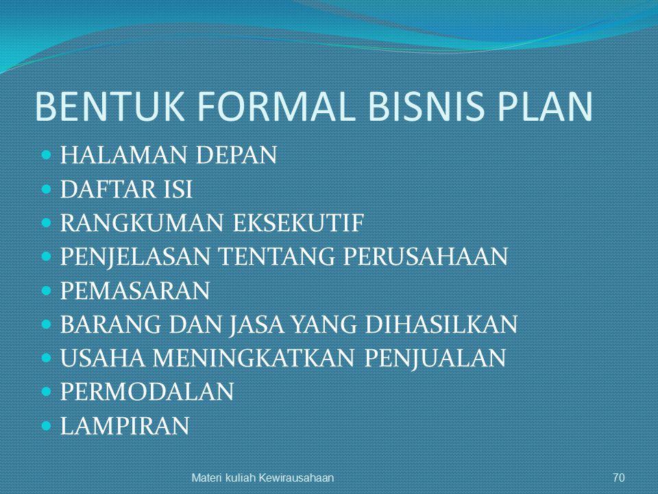 BENTUK FORMAL BISNIS PLAN