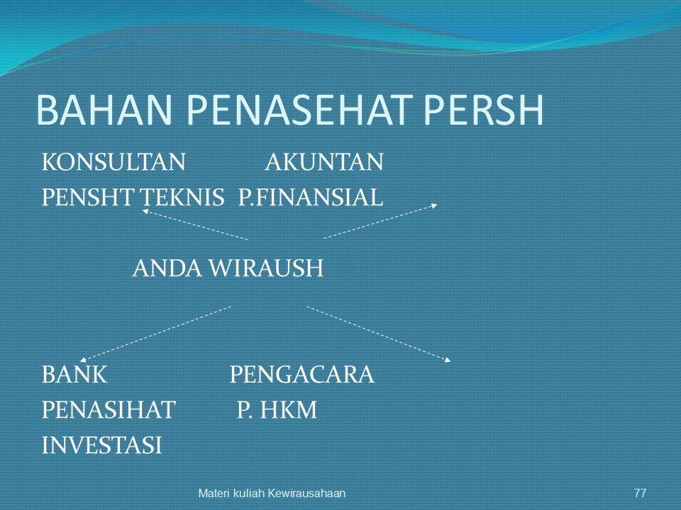 BAHAN PENASEHAT PERSH KONSULTAN AKUNTAN PENSHT TEKNIS P.FINANSIAL ANDA WIRAUSH BANK PENGACARA PENASIHAT P. HKM INVESTASI