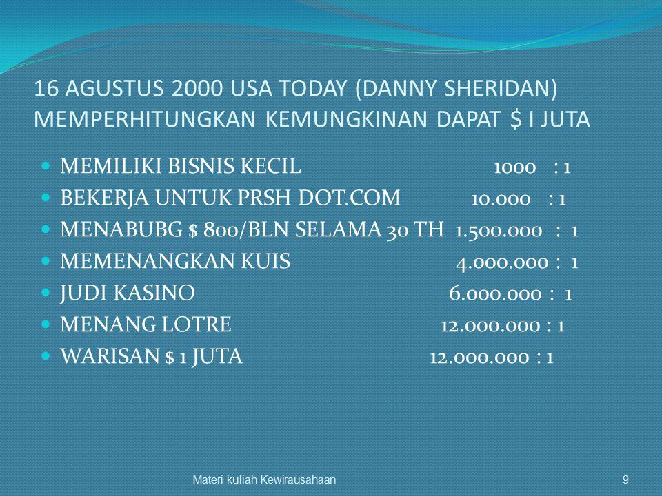 16 AGUSTUS 2000 USA TODAY (DANNY SHERIDAN) MEMPERHITUNGKAN KEMUNGKINAN DAPAT $ I JUTA