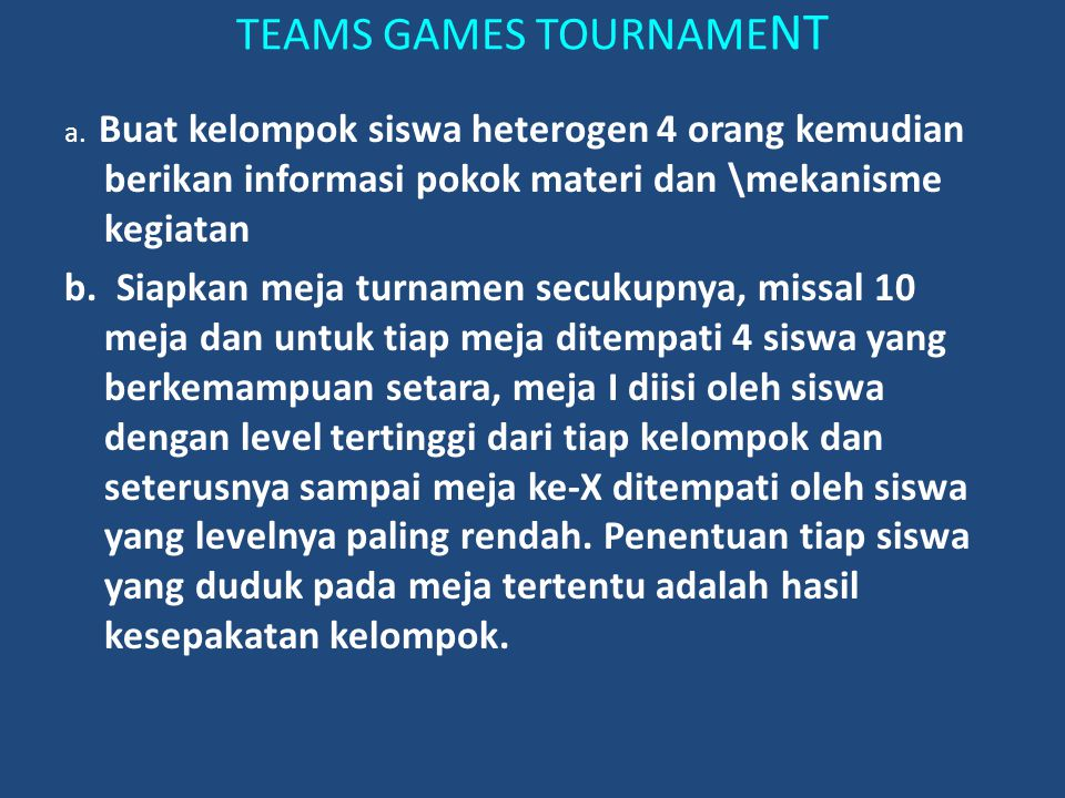 TEAMS GAMES TOURNAMENT