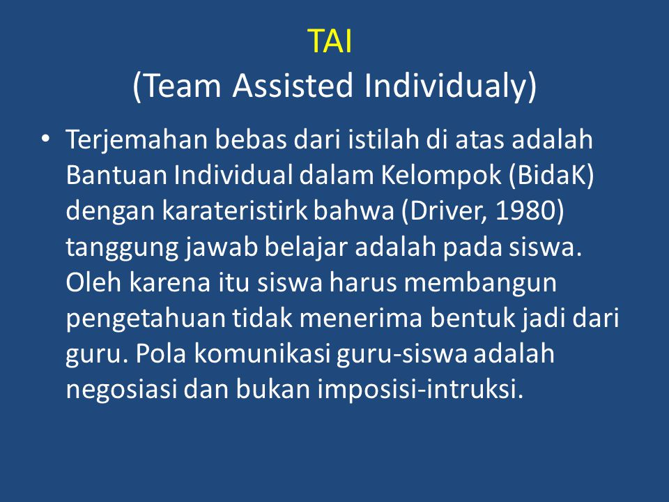 TAI (Team Assisted Individualy)