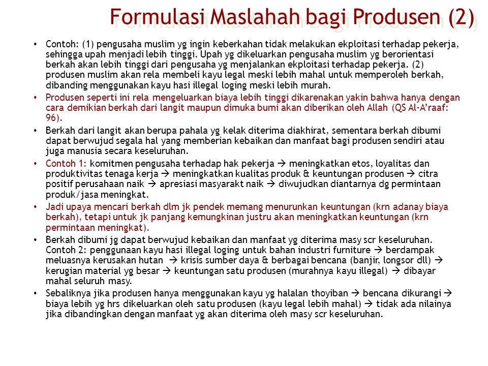 Formulasi Maslahah bagi Produsen (2)