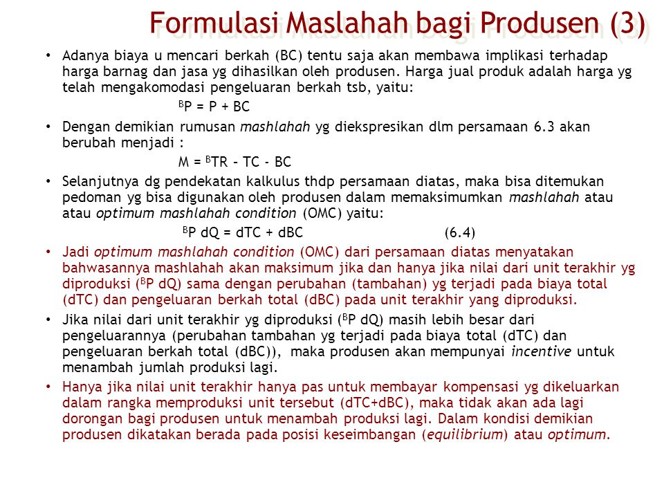 Formulasi Maslahah bagi Produsen (3)