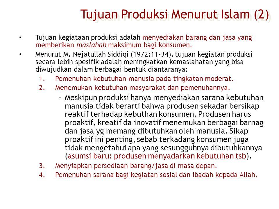 Tujuan Produksi Menurut Islam (2)