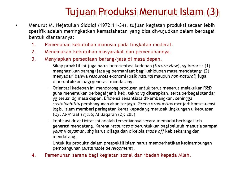 Tujuan Produksi Menurut Islam (3)